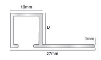 Aluminium Square Trim 10 mm